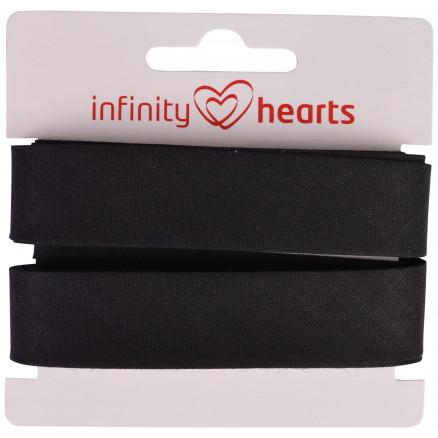 Image of   Infinity Hearts Skråbånd Bomuld 40/20mm 02 Sort - 5m