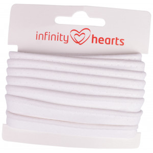 Infinity Hearts Pipingbånd Bomuld 11mm 01 Hvid - 5m