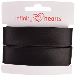 Image of   Infinity Hearts Skråbånd Viscose Satin 40/20mm 1001 Sort - 5m