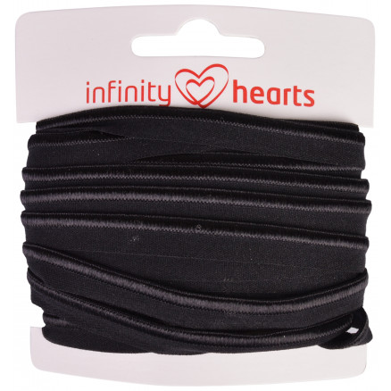 Infinity Hearts Pipingbånd Stretch 10mm 030 Sort - 5m thumbnail
