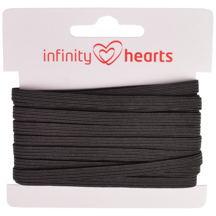 Image of   Infinity Hearts Elastik 5mm Sort - 5m