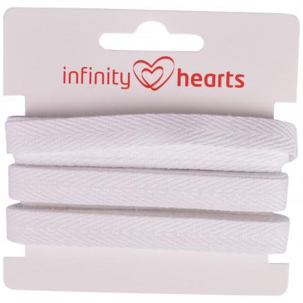 Image of   Infinity Hearts Sildebens Bånd Bomuld 10mm 01 Hvid - 5m