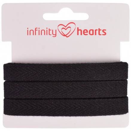 Image of   Infinity Hearts Sildebens Bånd Bomuld 10mm 09 Sort - 5m