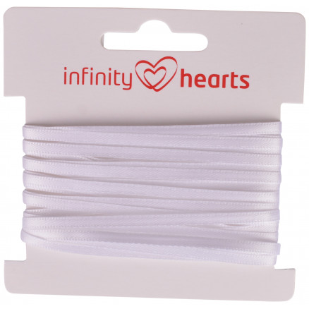 Image of   Infinity Hearts Satinbånd Dobbeltsidet 3mm 029 Hvid - 5m