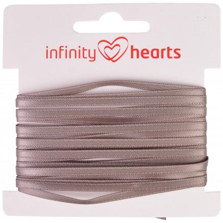 Image of   Infinity Hearts Satinbånd Dobbeltsidet 3mm 017 Grå - 5m