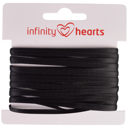 Image of   Infinity Hearts Satinbånd Dobbeltsidet 3mm 030 Sort - 5m