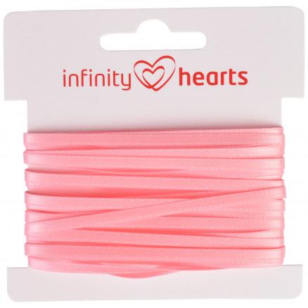 Image of   Infinity Hearts Satinbånd Dobbeltsidet 3mm 150 Lyserød - 5m