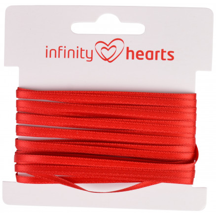 Image of   Infinity Hearts Satinbånd Dobbeltsidet 3mm 250 Rød - 5m