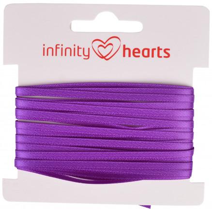 Image of   Infinity Hearts Satinbånd Dobbeltsidet 3mm 465 Lilla - 5m