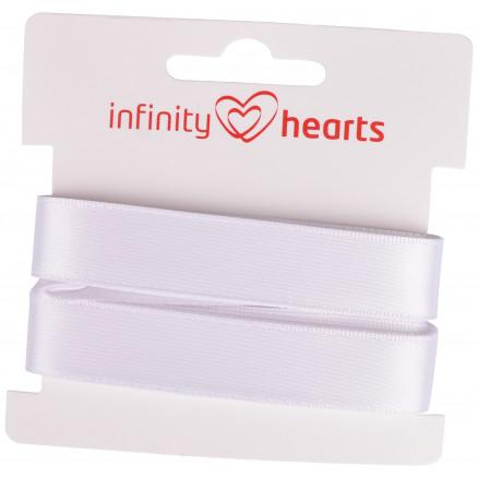 Image of   Infinity Hearts Satinbånd Dobbeltsidet 15mm 029 Hvid - 5m