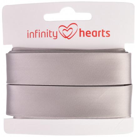 Image of   Infinity Hearts Satinbånd Dobbeltsidet 15mm 017 Grå - 5m