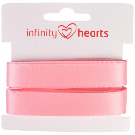 Image of   Infinity Hearts Satinbånd Dobbeltsidet 15mm 150 Lyserød - 5m