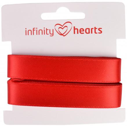 Image of   Infinity Hearts Satinbånd Dobbeltsidet 15mm 250 Rød - 5m