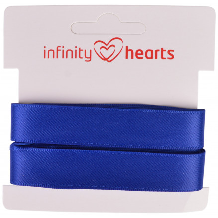 Image of   Infinity Hearts Satinbånd Dobbeltsidet 15mm 329 Marineblå - 5m