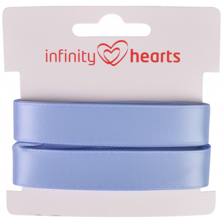 Image of   Infinity Hearts Satinbånd Dobbeltsidet 15mm 333 Lyseblå - 5m