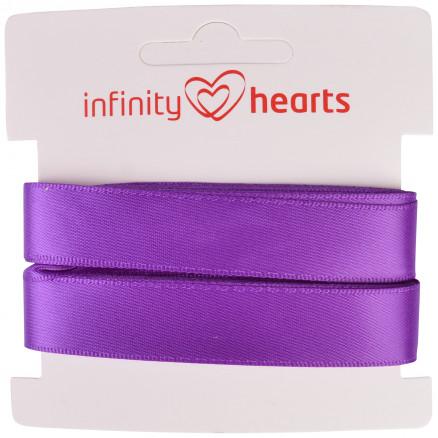 Image of   Infinity Hearts Satinbånd Dobbeltsidet 15mm 465 Lilla - 5m