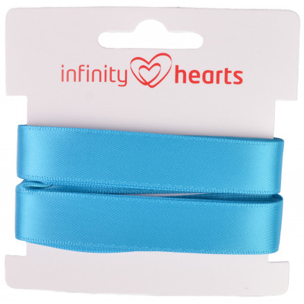 Image of   Infinity Hearts Satinbånd Dobbeltsidet 15mm 325 Turkis - 5m