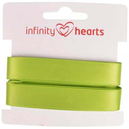 Image of   Infinity Hearts Satinbånd Dobbeltsidet 15mm 551 Grøn - 5m