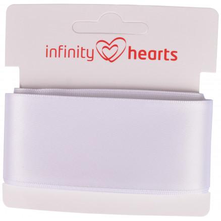 Image of   Infinity Hearts Satinbånd Dobbeltsidet 38mm 029 Hvid - 5m