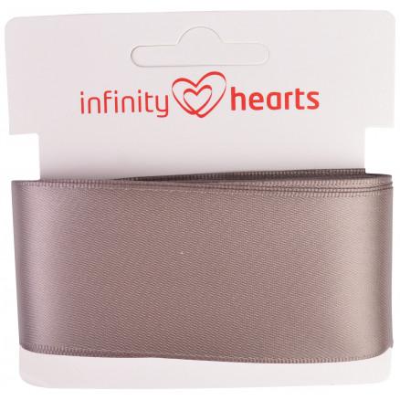 Image of   Infinity Hearts Satinbånd Dobbeltsidet 38mm 017 Grå - 5m