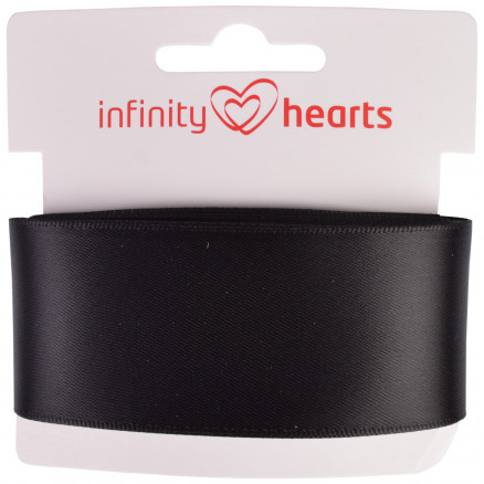 Image of   Infinity Hearts Satinbånd Dobbeltsidet 38mm 030 Sort - 5m