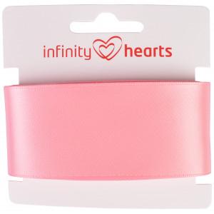 Infinity Hearts Satinbånd Dobbeltsidet 38mm 150 Lyserød - 5m