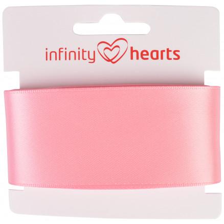 Image of   Infinity Hearts Satinbånd Dobbeltsidet 38mm 150 Lyserød - 5m
