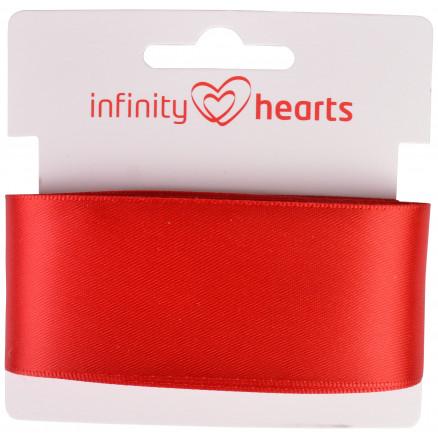 Image of   Infinity Hearts Satinbånd Dobbeltsidet 38mm 250 Rød - 5m