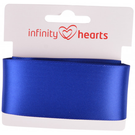 Image of   Infinity Hearts Satinbånd Dobbeltsidet 38mm 329 Marineblå - 5m
