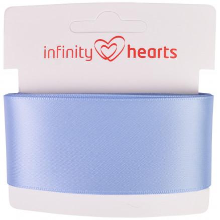Image of   Infinity Hearts Satinbånd Dobbeltsidet 38mm 333 Lyseblå - 5m