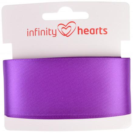 Image of   Infinity Hearts Satinbånd Dobbeltsidet 38mm 465 Lilla - 5m