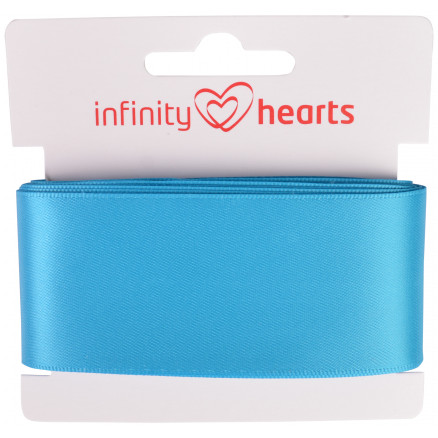 Image of   Infinity Hearts Satinbånd Dobbeltsidet 38mm 325 Turkis - 5m