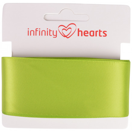 Image of   Infinity Hearts Satinbånd Dobbeltsidet 38mm 551 Grøn - 5m