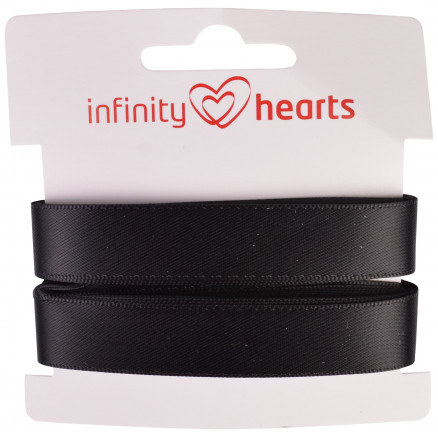 Image of   Infinity Hearts Satinbånd Dobbeltsidet 15mm 030 Sort - 5m