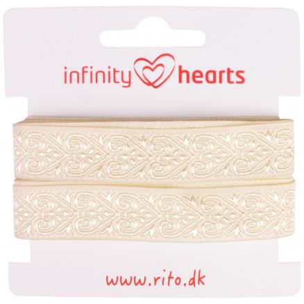 Image of   Infinity Hearts Jacquard Bånd Polyester 16mm Hjerter Natur - 5m