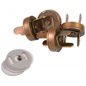Magnetknap Metal Antik Guld 14mm - 4 stk