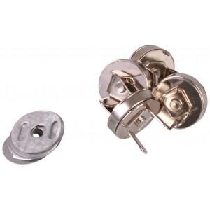 Magnetknap Metal Sølv 14mm - 4 stk