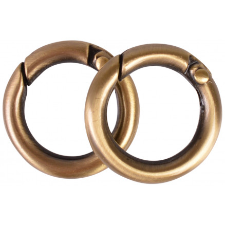 Image of   Karabinhage Rund/O-ring Metal Antik Guld 24mm - 2 stk