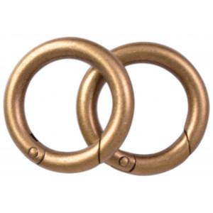 Image of   Karabinhage Rund/O-ring Metal Antik Guld 36mm - 2 stk