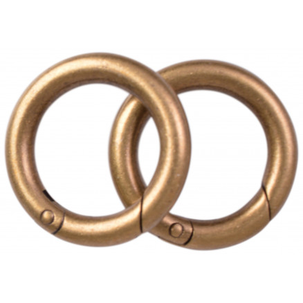 Image of   Karabinhage Rund/O-ring Metal Antik Guld 36mm - 2 stk
