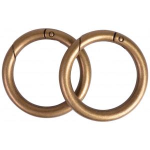 Image of   Karabinhage Rund/O-ring Metal Antik Guld 52mm - 2 stk