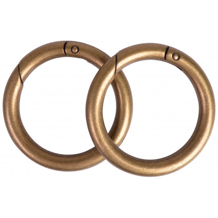 Image of   Karabinhage Rund/O-ring Metal Antik Guld 52mm - 2 stk