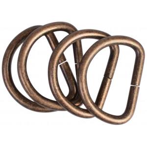 D-Ring Metal Antik Guld 28x20mm - 4 stk