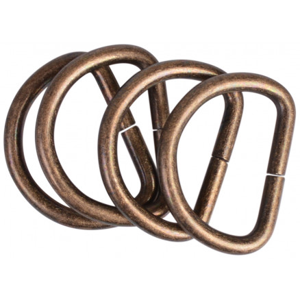 Image of   D-Ring Metal Antik Guld 28x20mm - 4 stk