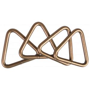 Ring Trekant Metal Antik Guld 37x34mm - 4 stk