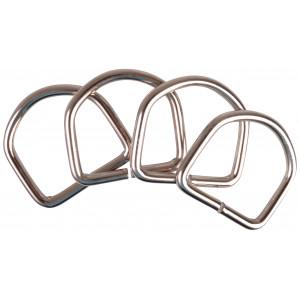 D-Ring Metal Sølv 37x35mm - 4 stk