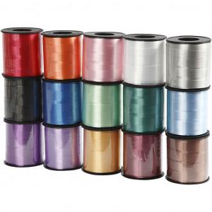 Gavebånd, B: 10 mm, ass. farver, blank, 15x50m