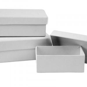 Rektangulære æsker, L: 8,5+10+12 cm, B: 6+7+9 cm, hvid, 18stk., H: 4,5