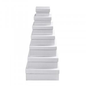 Kvadratiske æsker, str. 9+11+13+15+17+19+21 cm, H: 4,5+5+5,5+6+6,5+7+7