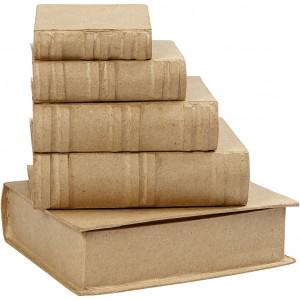 Bøger, H: 8,5+11+13,5+16+18,5 cm, B: 6+8+10+12,5+15,2 cm, 5stk., tykke